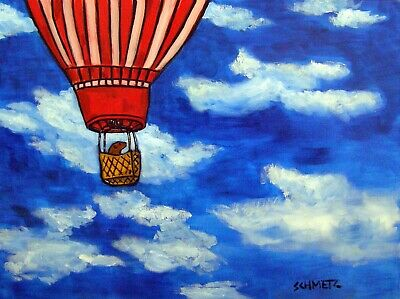 Sea lion in a Hot air balloon  art print 8x10
