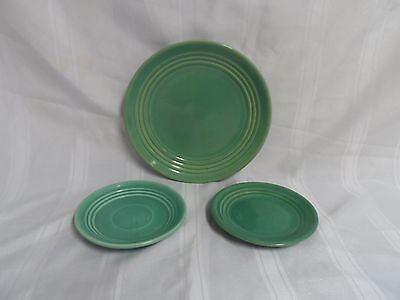 Bauer Ringware Dinner Plate Jade Green and 2 Small Dessert/ Salad Plates