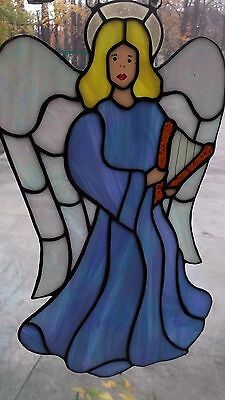 Vintage Irridescent Handmade Large Slag Stained Glass Window Hanging Angel Harp