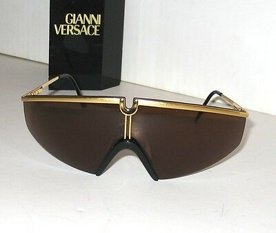 Gianni Versace Vintage Gold & Amber S91 Sunglasses Occhiali  Made in Italy  MINT
