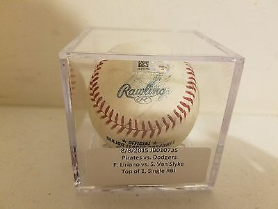 MLB Authenticated Game Used Ball Pirates Vs Cubs 8/8/2015 Liriano Vs Van Slyke