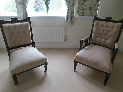 His and Hers Edwardian Antique Mahogany Chairs Good Condition