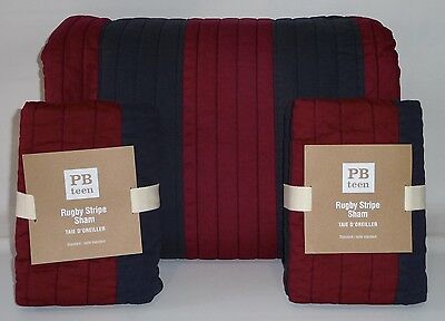 POTTERY BARN PB TEEN Rugby Stripe FULL/QUEEN Quilt w/STANDARD Shams-NAVY/RED-NEW