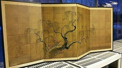 Vintage Japanese Chinese 4 Panel Folding Screen Byobu Painted 71x30 Signed GOLD