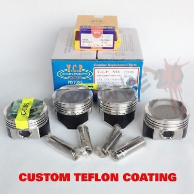 75.5mm D16 YCP Vitara TURBO Pistons & NPR Rings TEFLON COATED Honda Civic CRX