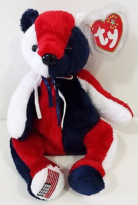 """TY Beanie Babies """"PATRIOT (Flag On Right Foot)"""" USA TEDDY BEAR - MWMT! MUST HAVE"""