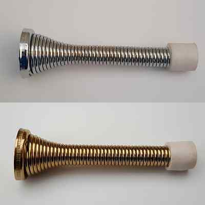 2pk Chrome Silver Brass Spiral Metal Spring Door Stop Stopper Protector x 2 pack