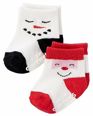 New Carter's Snowman Santa Booties Socks size 0-3 months Holiday Sock