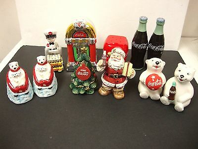 Coca Cola Coke Lot Of 7 Salt & Pepper Shakers Kitchen Collectible Various Kinds!