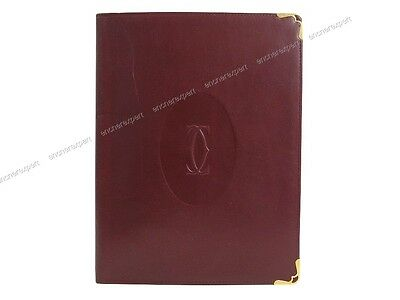 Vintage Porte Document Must De Cartier En Cuir Bordeaux Leather Document Holder
