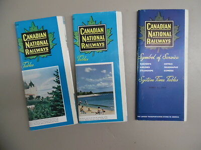 1952-53 Canadian National Railway Public Timetable Lot of 3 CNR Canada Vintage