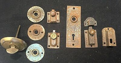 #41 Antique Vtg Lot EASTLAKE Escutcheon Back Plate Window Latch Key Hole