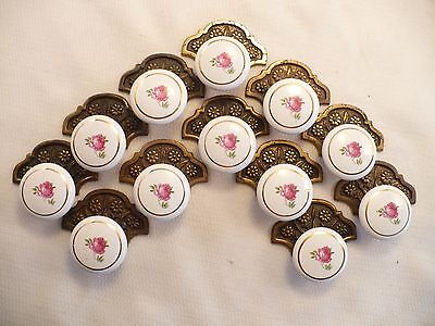 Set 12 Victorian Pink Rose Porcelain Drawer Pulls Japan and Keeler Brass Plates
