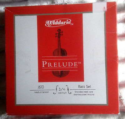 D'Addario Prelude Double Bass String Set J610 3/4 Scale Strings Medium Sealed