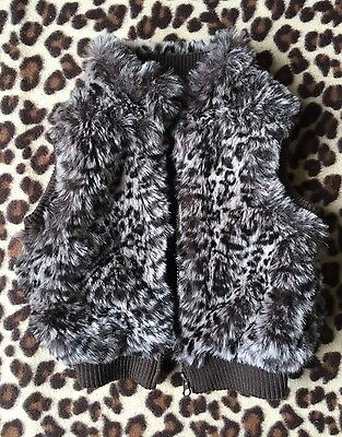 Cute Girls' Animal Print Fluffy Gilet* 2-3 Years*f&f*great Condition