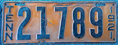1921 Tennessee license plate - all original, hard to find!