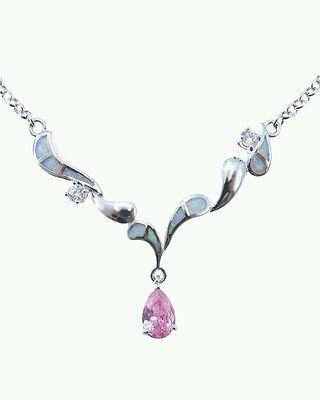 Stunning White  Fire Opal and Pink Topaz Necklace 18'' Chain