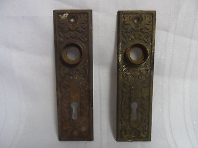 2 Brass Metal Door Knob Face Plate Skeleton Key Hole
