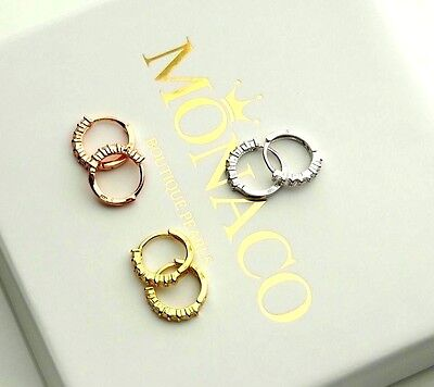 REAL 925 Sterling Silver Hoop Earrings Small Round CZ Sparkling Jewellery UK NEW