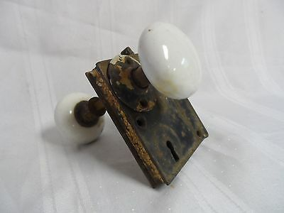 Vintage White Porcelain Lock Assembly Door Knob