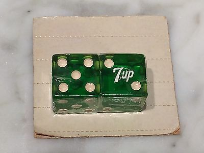 Vintage New Old Stock 1960s Green 7UP Dice on Card - Rolls 7 Every Time