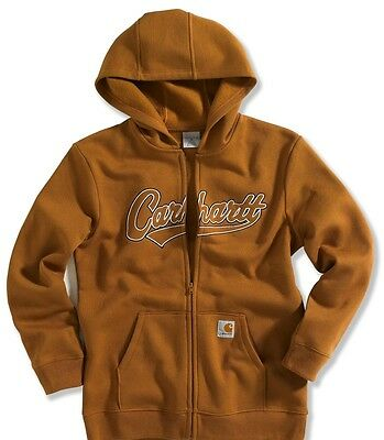 Carhartt Boys Logo Fleece Zip, NWT, Brown 4 5 6 8/10, M 12, L 14/18, X-L 18/20