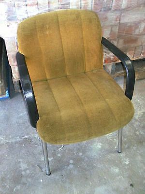 Vintage upholstered chrome boardroom chairs set of 4