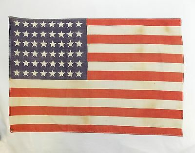 "Antique US FLAG 48 Star Small WWII Era Correct 11"" X 16 1/2"" (Stains) 0313-15"