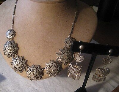 Antique Exotic Spun Silver Filigree Flowers Necklace / Fringed Dangle Earrings
