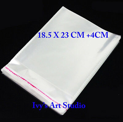 100 X C5 Cellophane Cello Clear Plastic Seal Bags 185 x 230mm + 40mm Resealable