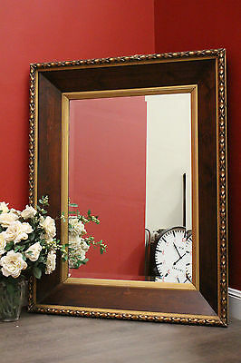 Antique French Cherrywood and Gilt Frame Wall Hanging Mantle Vanity Hall Mirror