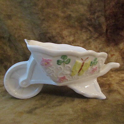 Belleek 11th Anniversary Show Wheelbarrow Nut/Candy Dish/May 2005/EXCELLENT!