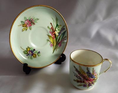 ~Floral~c1912~Antique~Royal Worcester~Demitasse~China~Cup & Saucer~Hand Painted~