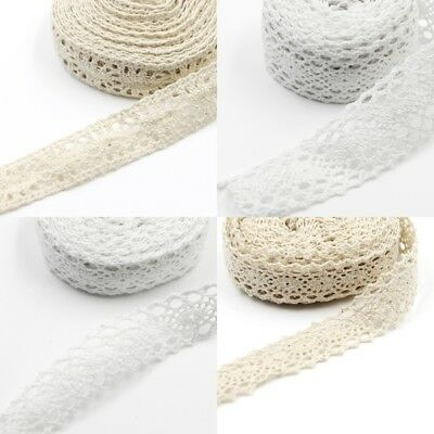 5/10Yards White/Off-white Cotton Lace Trims Ribbon Belt for Wedding Clothing Bag