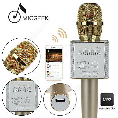 MicGeek Q9 Microphone Wireless KTV Support USB Player Gold Fr Android Smartphone