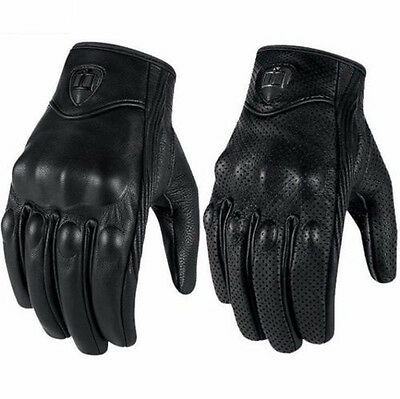 Full Finger Motorcycle Horse Riding Racing Cycling Sport Leather Gloves Black