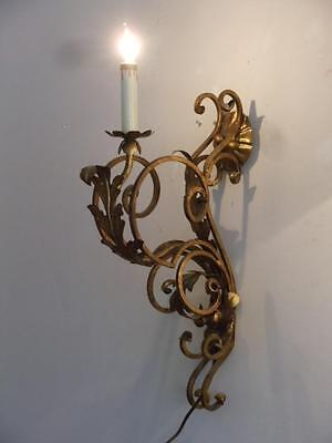 Antique Vtg Italian Gold Gilt Metal Tole One Light Gothic Sconce Wall Lamp