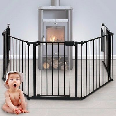Safety Gate Sturdy Fire Guard Childproof Pet Secured Doorway Locking Mechanism
