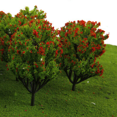 10pcs Model Trees w/ Red Flowers Layout Train Railway Diorama 1:150 N Scale
