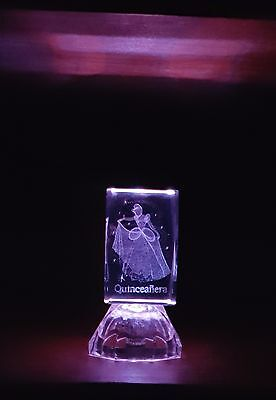 Quinceanera Cinderella 3D Laser Etched Crystal Glass Cube LED Light