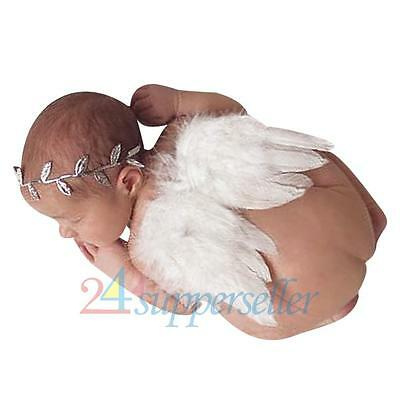 Newborn Baby Girl Boy White Feather Angel Wing + Headband Photography Prop Set