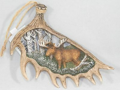 Antler with Moose Wildlife Scene Christmas Tree Ornament new holiday