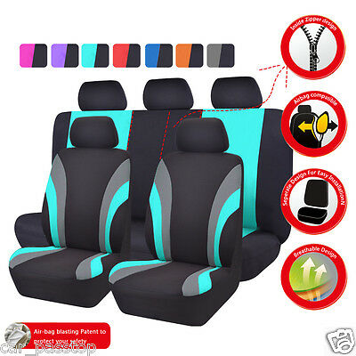 Universal Black/Mint Blue Full Rear Car Seat Covers Set For Car Seat Cushion