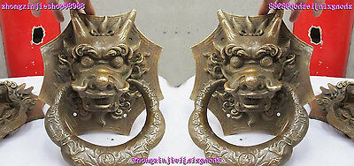Chinese Royal Classical Copper Guardian Evil Dragon Head Door knocker Pair