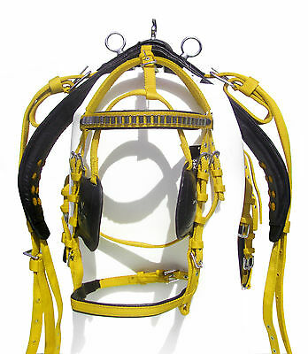 Nylon Driving Harness For Single Horse Black/yellow Color In Shetland Size