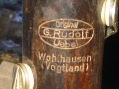 G. Rudolf Uebel Wohlhausen Boehm Bb Clarinet 5 rings.  Made in Germany