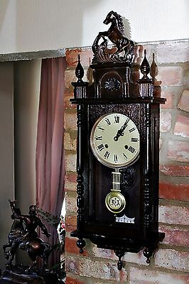 Vintage Dark Brown Wall Clock with Carved Horse Figurine on Top