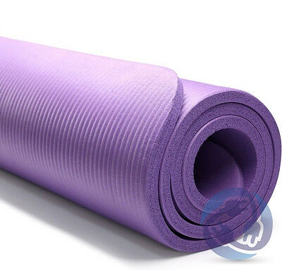 "Thick Non-Slip Yoga Mat Pad Exercise Light Gym Meditation 72""x24"" 10mm PURPLE"