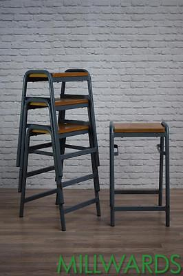 Vintage Industrial Stacking Stackable School Lab Cafe Bar Stools 20 AVAILABLE
