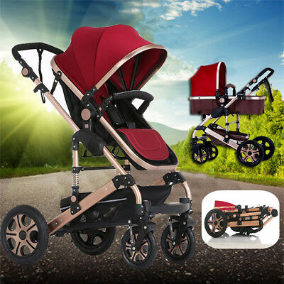 2 in 1 Aluminium Baby Toddler Pram Stroller Buggy Jogger with Bassinet 4 Wheel